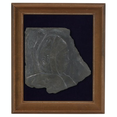 Carved Slate Bas-Relief of Male Profile with Harpoon, 20th Century