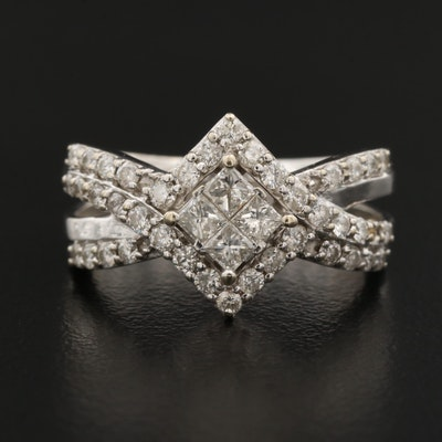 14K 1.00 CTW Diamond Ring Featuring Split Shank