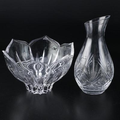 "Rogaška ""Richmond"" Crystal Carafe with Crystal Centerpiece Bowl"