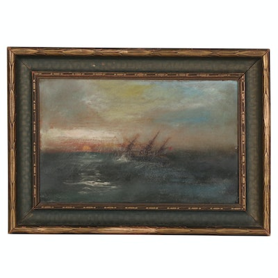 Attributed to James Hamilton Nautical Oil Painting