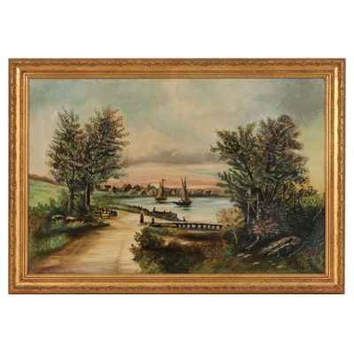 Oil Painting of Inlet Landscape