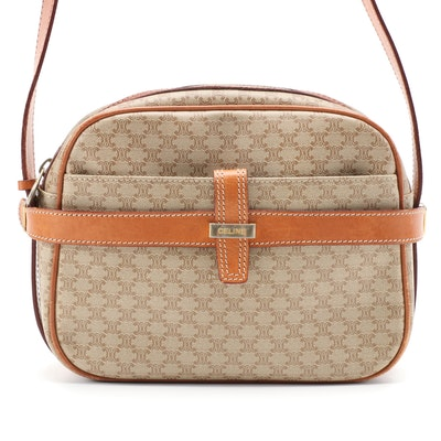 Celine Macadam Coated Canvas and Tan Leather Crossbody Camera Bag