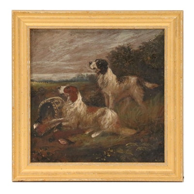 Hunt Scene Oil Painting with Two Dogs, 20th Century