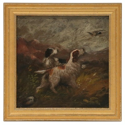 Oil Painting of Hunt Scene with Two Dogs