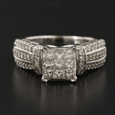 10K 1.08 CTW Diamond Ring with Invisible Set Center