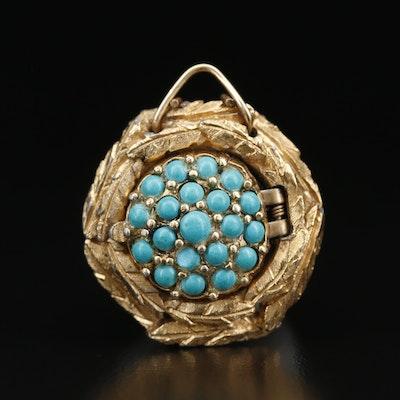 Vintage Endura Faux Turquoise Gold Tone Stem Wind Pendant Watch