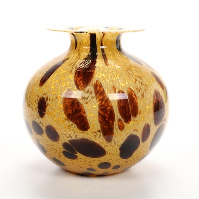 Azzurra Italian Amber and Brown Blown Art Glass Vase, Mid to Late 20th Century