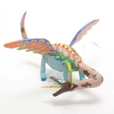 Mexican Carved Hand-Painted Dragon-Dinosaur Alebrije Figure