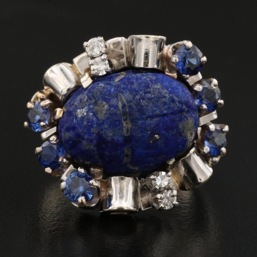 Vintage 14K Lapis Lazuli, Sapphire and Diamond Scarab Ring