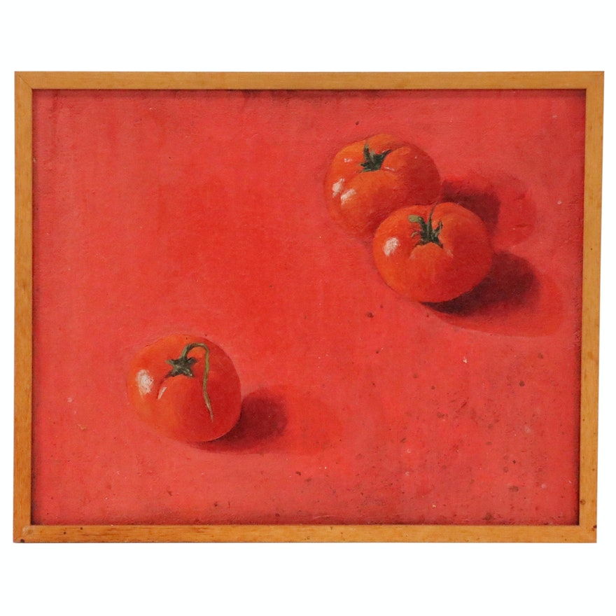 Still Life Oil Painting of Tomatoes on Red