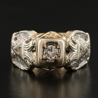 Vintage 14K Diamond Masonic Scottish Rite Ring