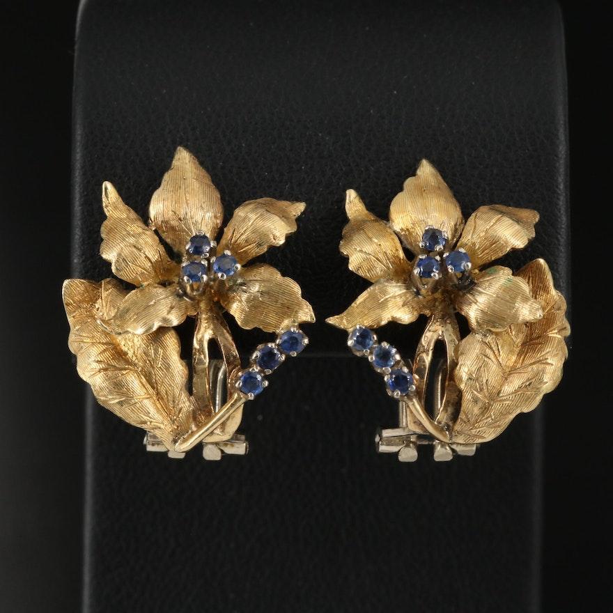 18K Flower Motif Clip Earrings with Sapphires