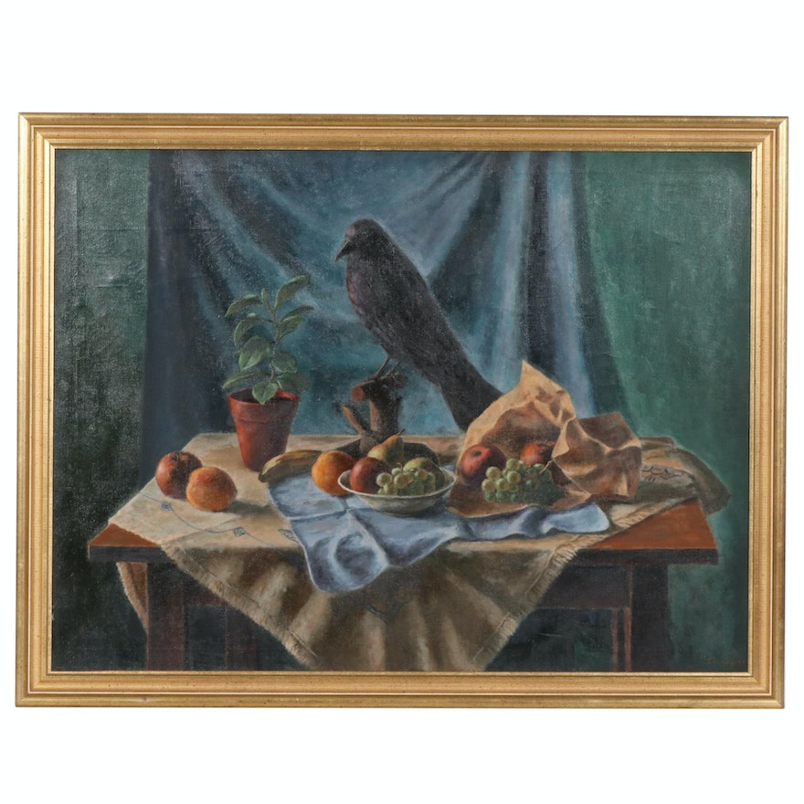 Stanley Twardowicz Still Life with Raven Oil Painting