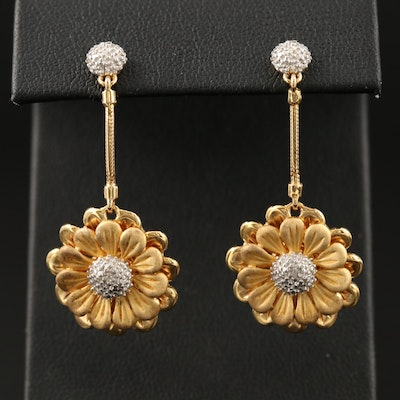 Sterling Diamond Daisy Motif Drop Earrings
