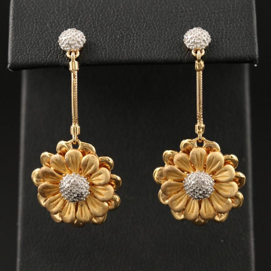 Sterling Diamond Daisy Motif Drop Earrings