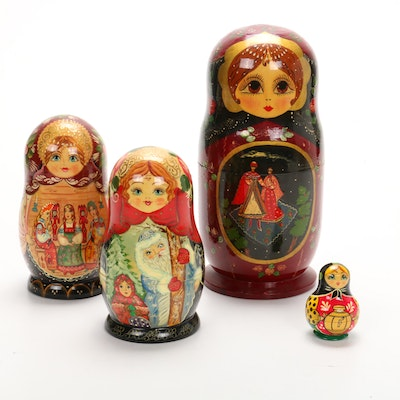 Russian Hand-Painted Matryoska Nesting Dolls and Ornaments, Signed
