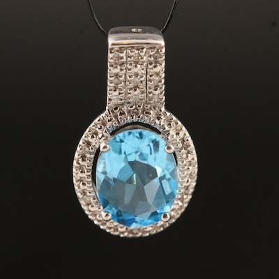 Sterling Oval Faceted Topaz and Diamond Pendant