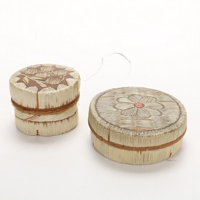Hand-Made Porcupine Quill Basket Boxes