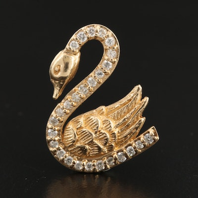 14K Diamond Swan Pendant