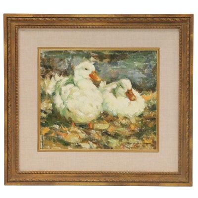 """John Galvan Oil Painting of Two Ducks """"Anthony & Cleopatra"""""""