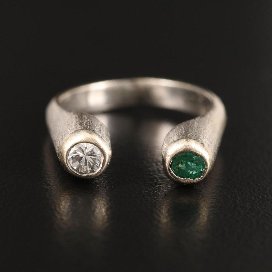 14K Bezel Set Emerald and Diamond Open Shank Ring