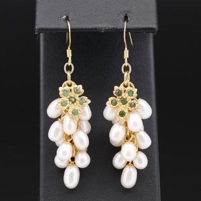 Sterling Silver Pearl and Emerald Grape Cluster Earrings