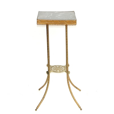 Victorian Style Brass Plant Stand With Marble Surface