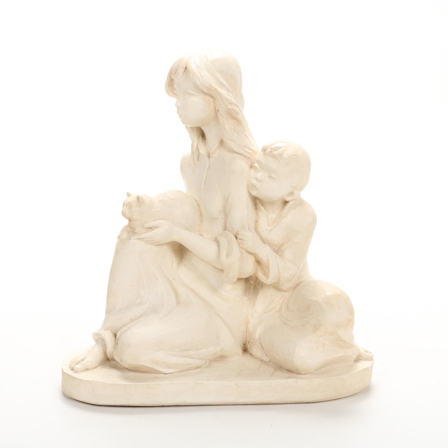 Anne-Jo Handcrafted Figurine of Children with Cat, Mid to Late 20th Century