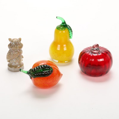Joe St Claire Carnival Glass Owl Figurine and Art Glass Fruits