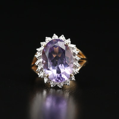 10K Amethyst Ring with Diamond Halo