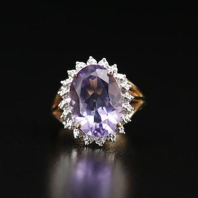 10K Amethyst Ring with Diamond Halo
