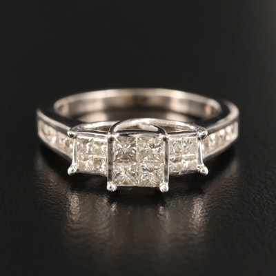 10K Invisible Set 1.00 CTW Diamond Ring