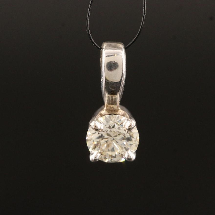 14K 0.90 CT Diamond Solitaire Pendant