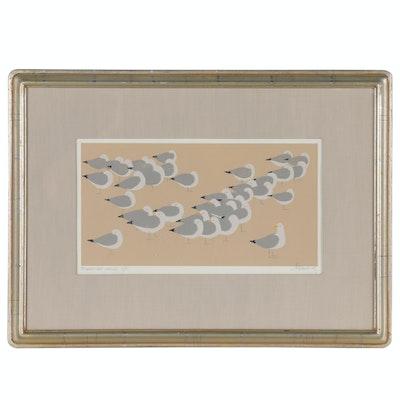 """Phyllis DeMong Serigraph """"Sleeping Gulls"""""""