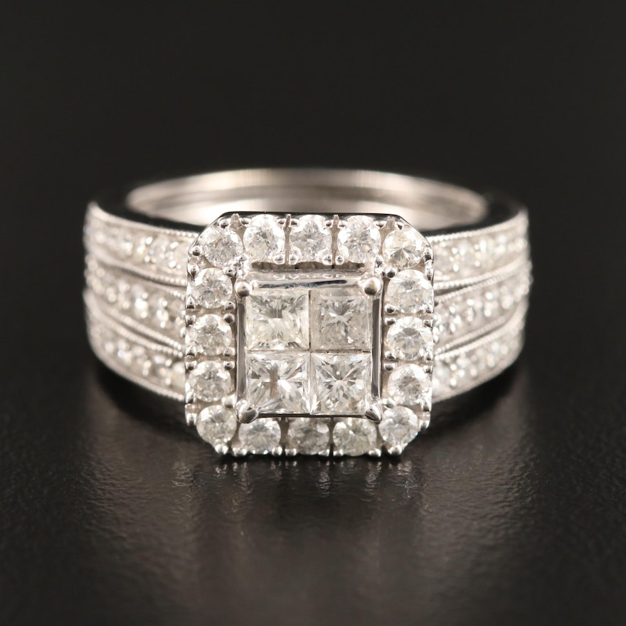 10K Invisible Set 1.94 CTW Diamond Halo Ring with Enhancer