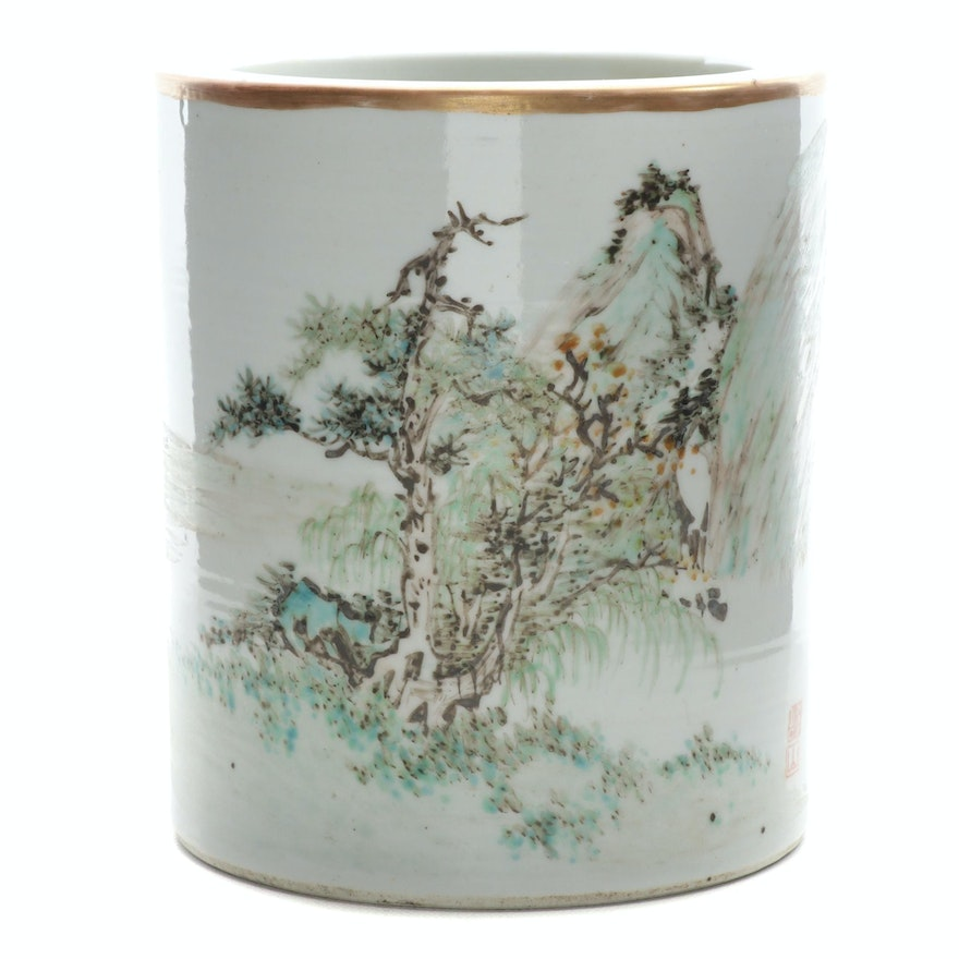 Chinese Hand-Painted Porcelain Brush Pot, Late 19th/Early 20th Century
