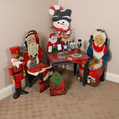 Santa and Mrs. Clause Table and Chairs, Snowman Yard Decor and More Christmas