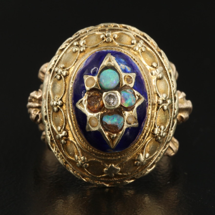 Vintage 14K Opal, Diamond and Enamel Ring with Cannetille Design
