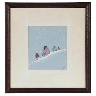 "Edmond Joshua Jr. Gouache Painting ""Along the Trail of Tears"""