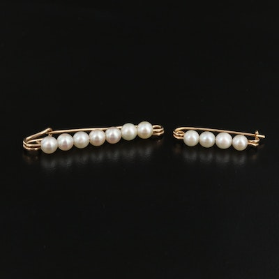 14K Pearl Bar Brooches