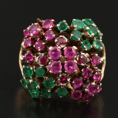 14K Ruby and Emerald Domed Ring