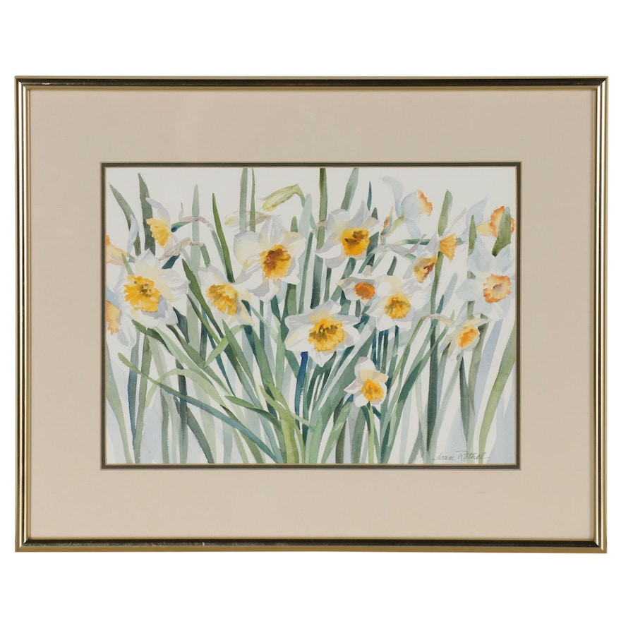Joan Rothel Watercolor Painting of Daffodil Flowers