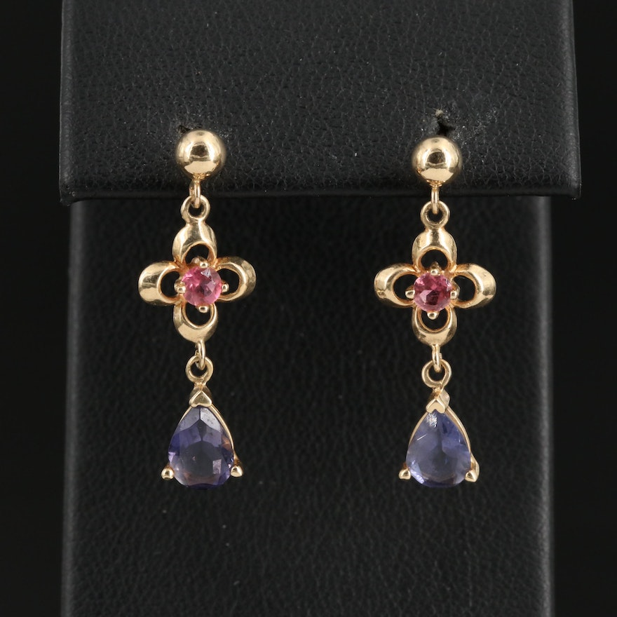 14K Iolite and Tourmaline Drop Earrings