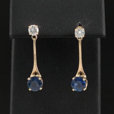14K Diamond and Sapphire Dangle Earrings