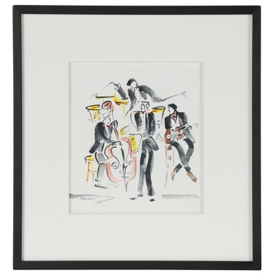 "Patty Cramer Acrylic Painting of Musicians ""Jazz"""