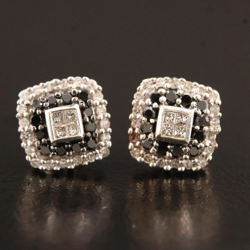10K Diamond Stud Earrings with Black Diamonds