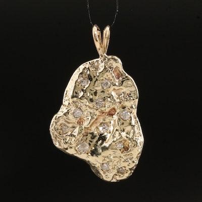 10K Diamond  Nugget Style Pendant