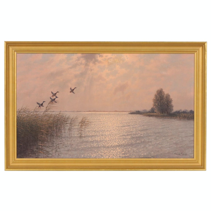 J. L. Van Der Meide Oil Painting of Marsh Landscape with Ducks