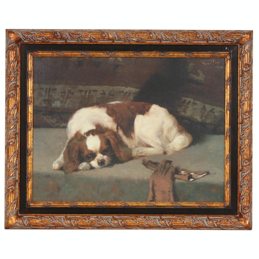 """Offset Lithograph after Frederick Hall """"King Charles Spaniel Resting"""""""