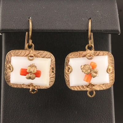 Victorian Branch Coral and Resin Dangle Earrings